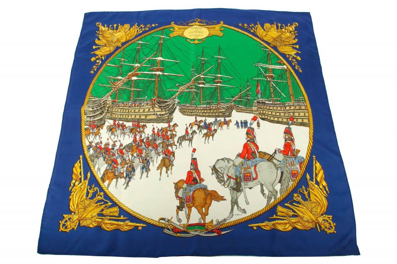 """Hermès Carré """"Marine Et Cavalerie"""""""