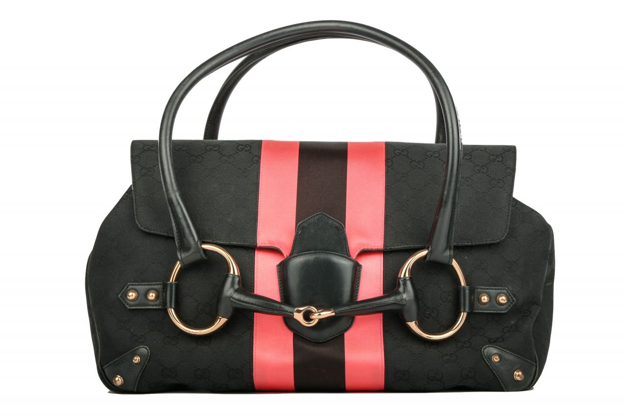 Gucci Horsebit Guccissima Canvas Bag Schwarz