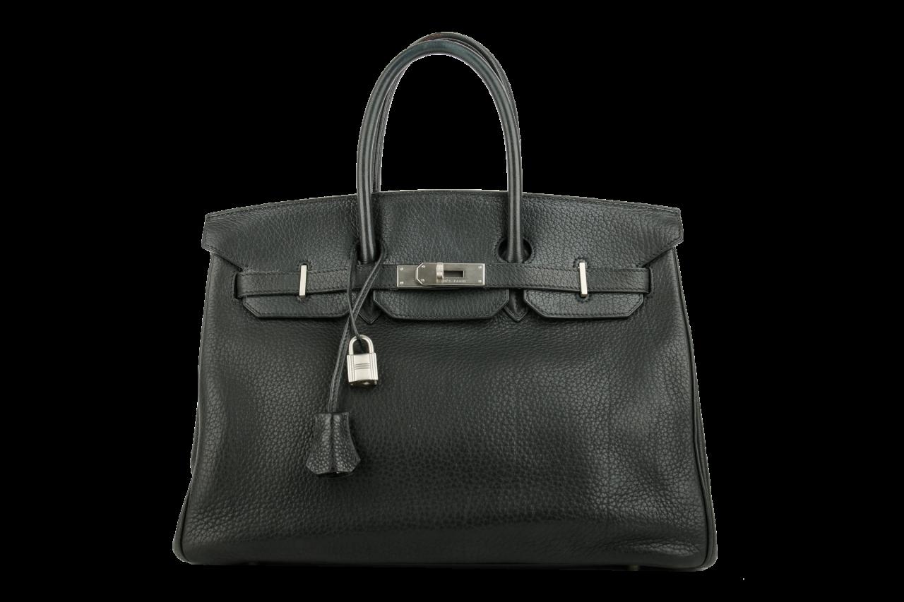 Hermès Clemence 35 Schwarz Togo Leder