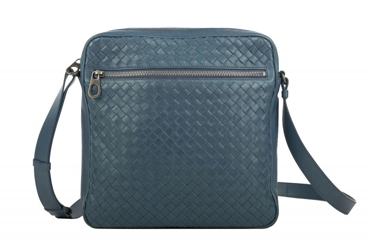 Bottega Veneta Intrecciato Messenger Bag Blau
