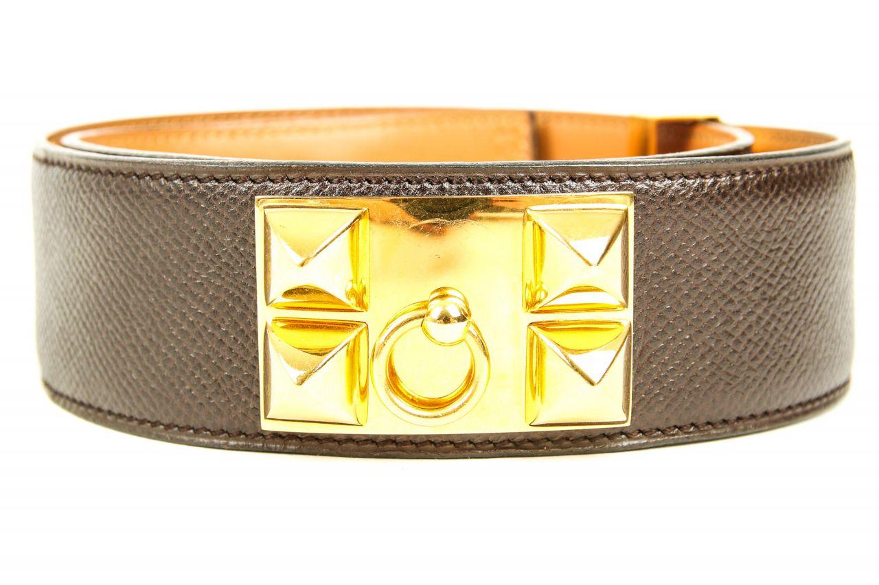 Hermès Gürtel Collier de Chien Braun-Gold