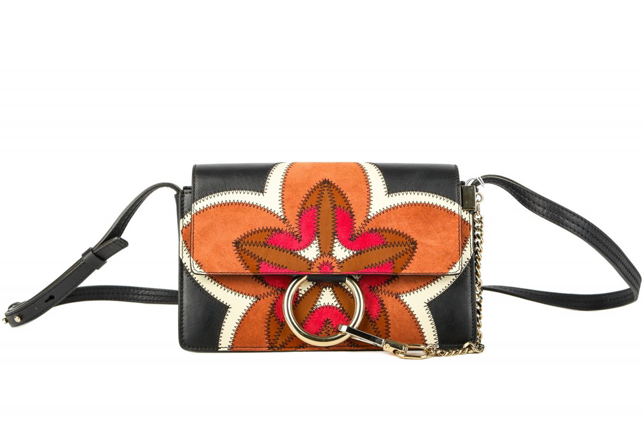 Chloé Faye Small Shoulder Bag Floral Patchwork