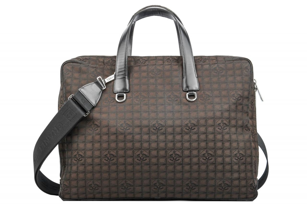 Chanel New Travel Line Laptop Case Nylon Brown