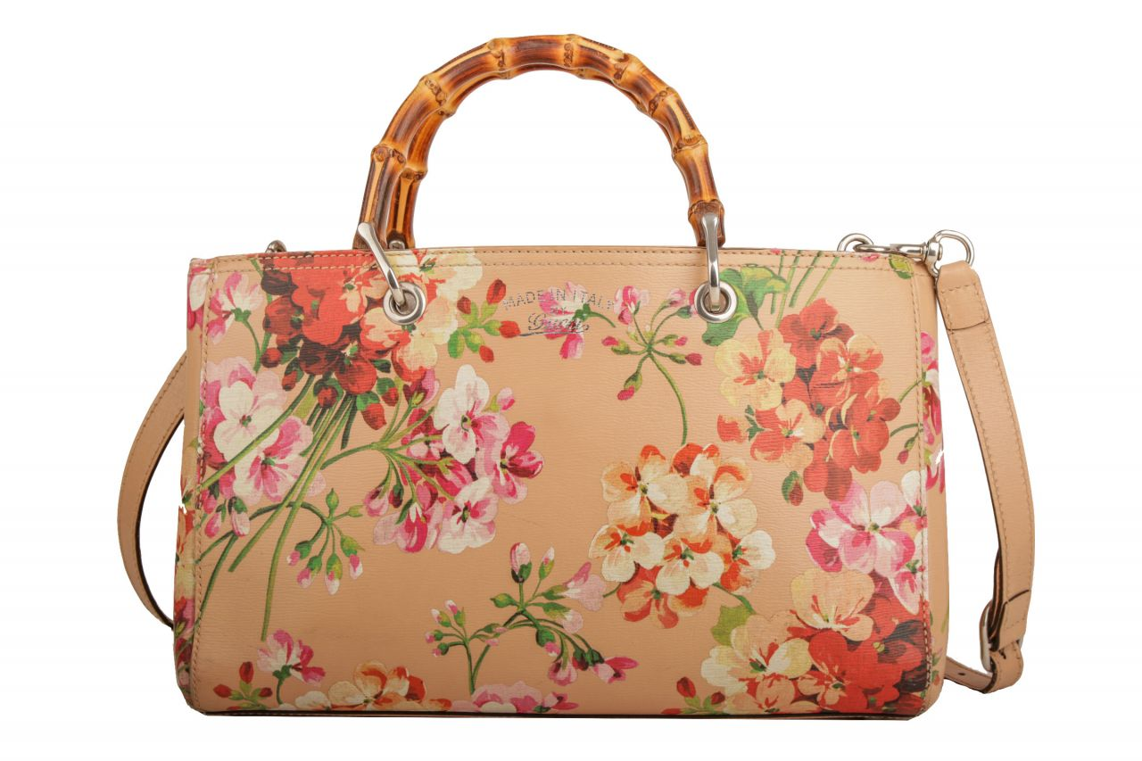 Gucci Bamboo Shopper Blooms Print