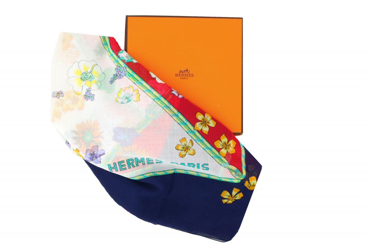 Hermès Baumwollschal Blumen