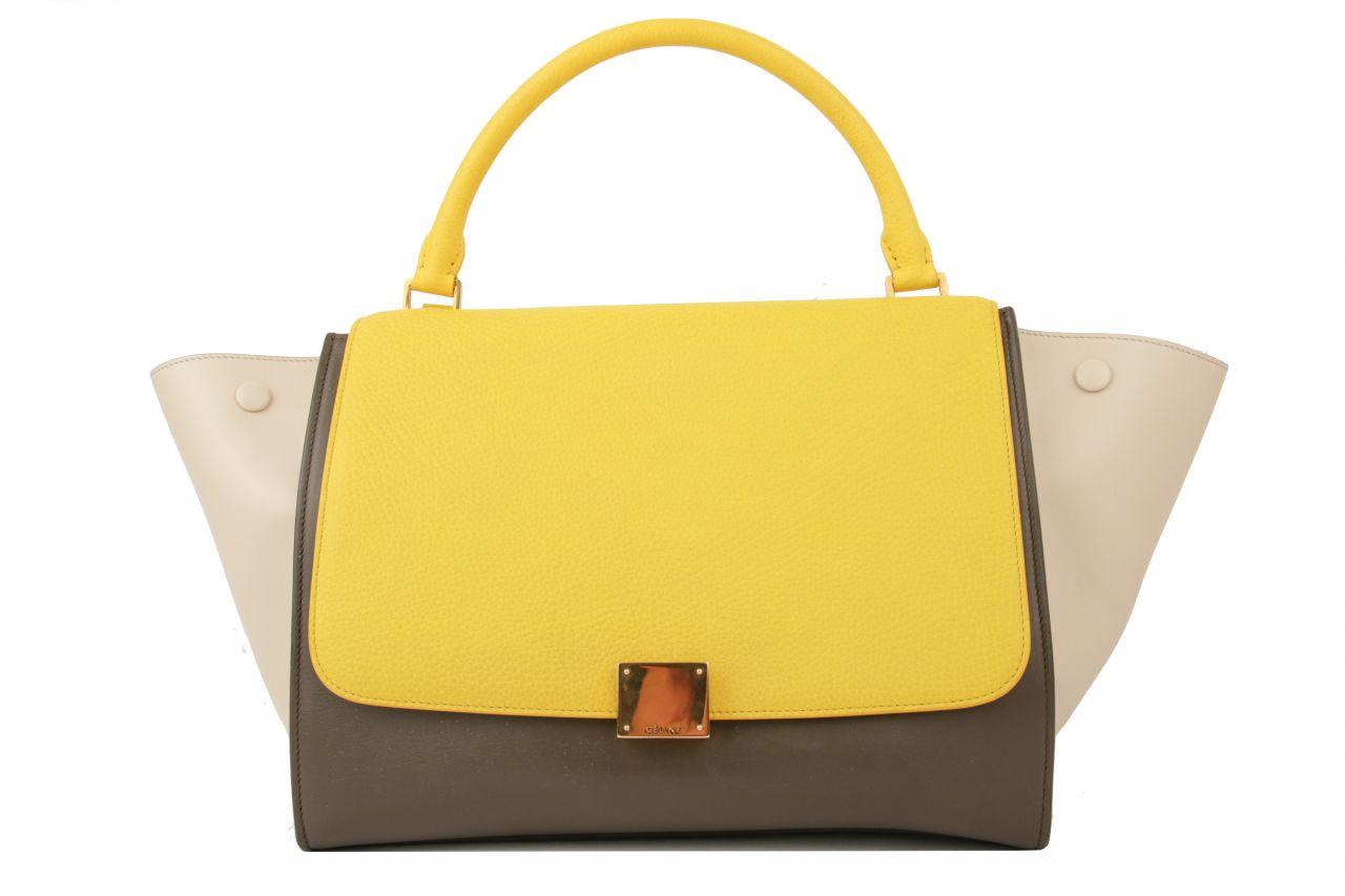 Céline Trapeze Bag Medium Tricolor Gelb