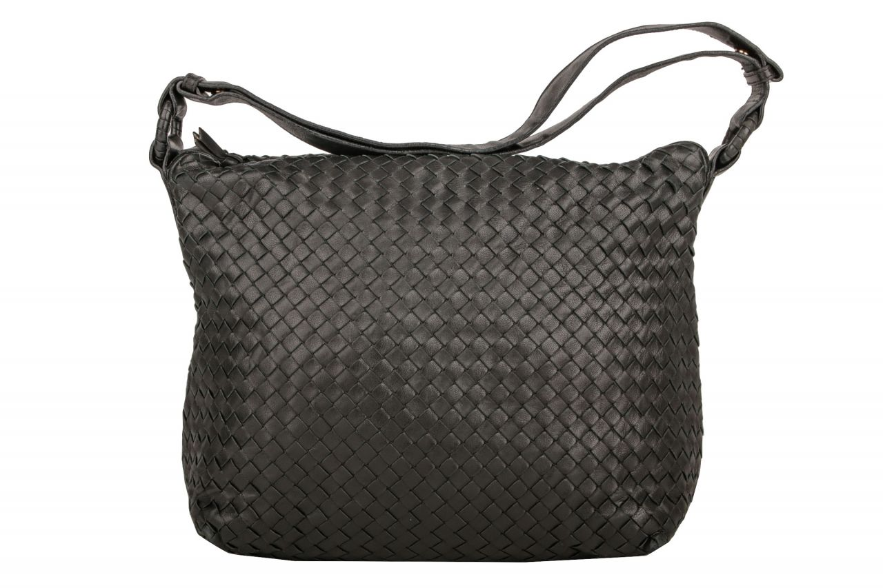 Bottega Veneta Intrecciato Shoulder Bag Black