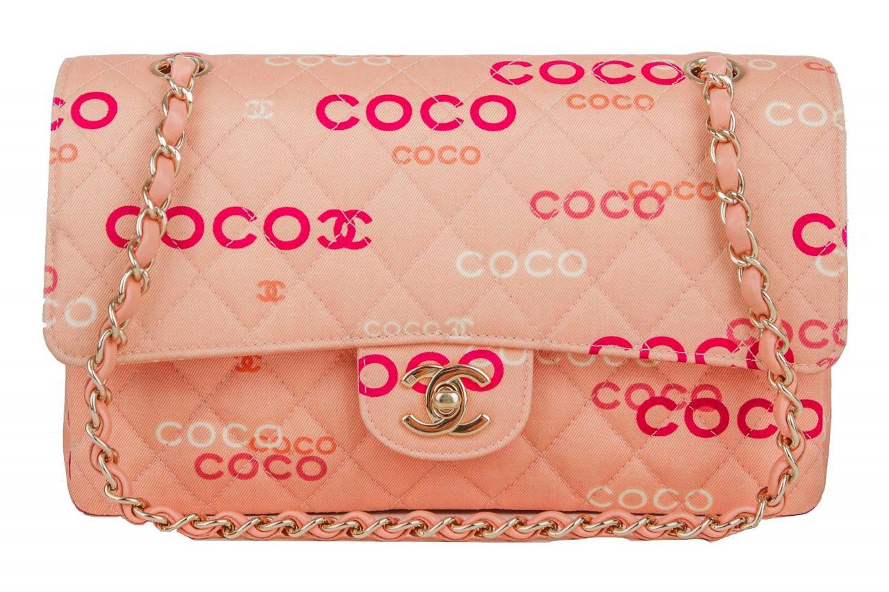 Chanel Double Flap Bag Rosa Logo