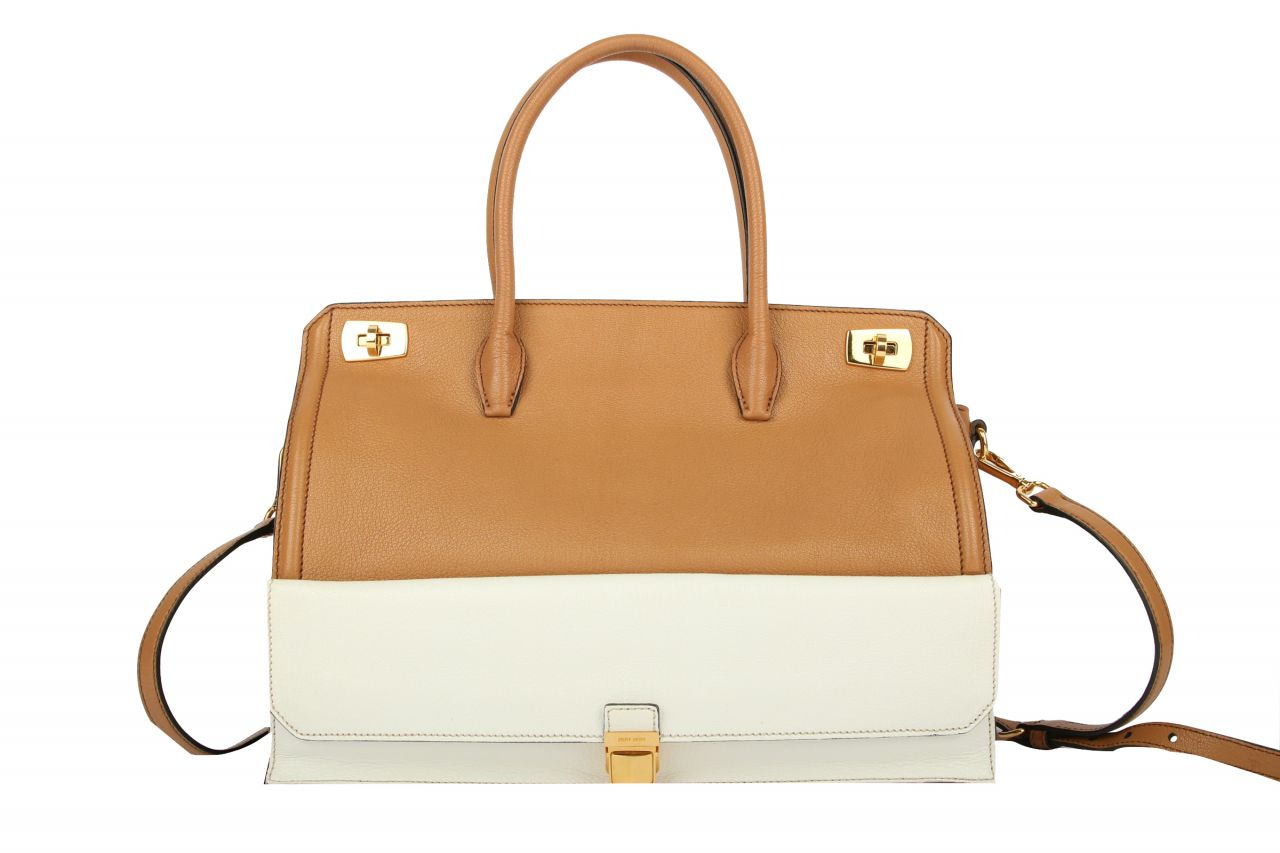 Miu Miu Two-Tone Leather Bag Brown White