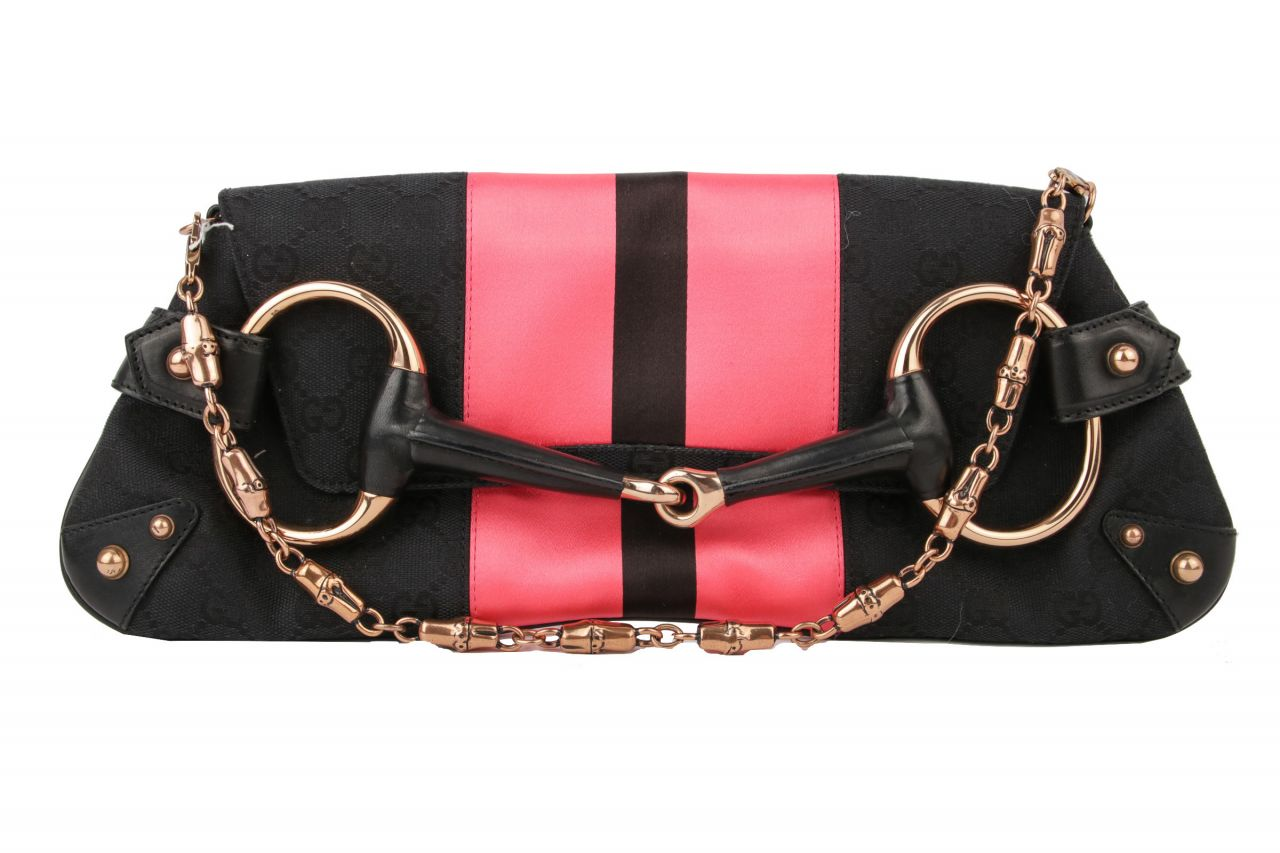 Gucci Horsebit Chain Baguette GG Canvas Schwarz