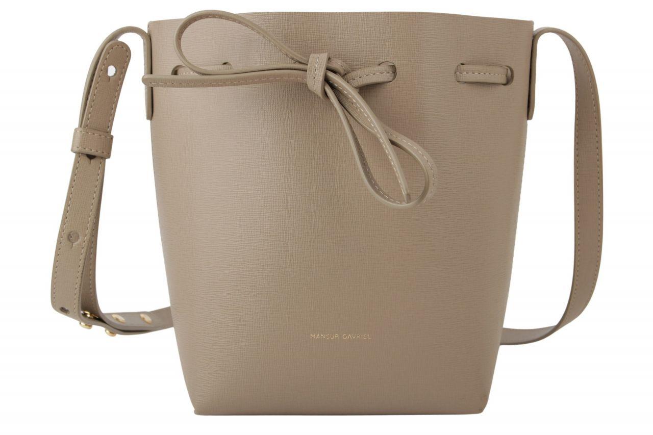 Mansur Gavriel Saffiano Mini Mini Bucket Grey