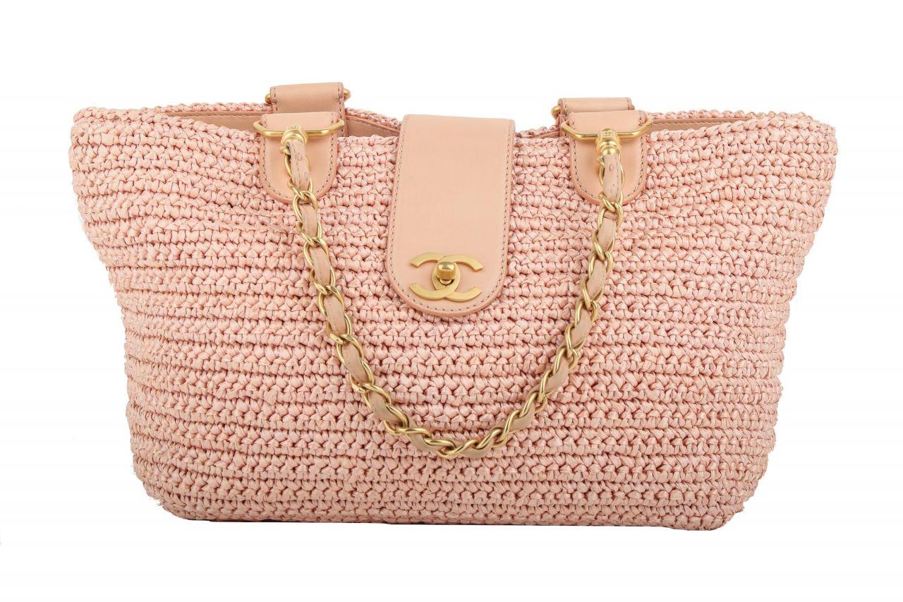 Chanel Straw Raffia Tote Bag Rosé