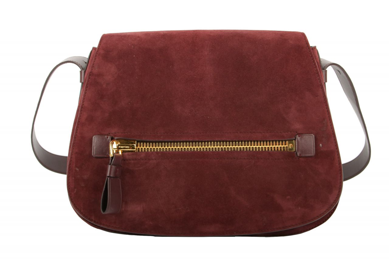 Tom Ford Jennifer Saddle Bag Suede Bordeaux