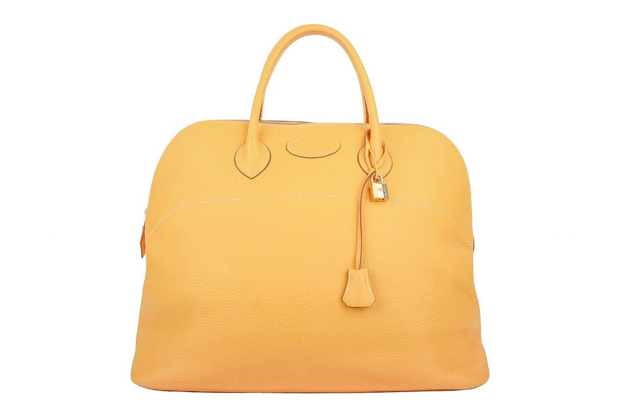 Hermès Bolide Travel Bag 45 Moutarde Clemence Leder