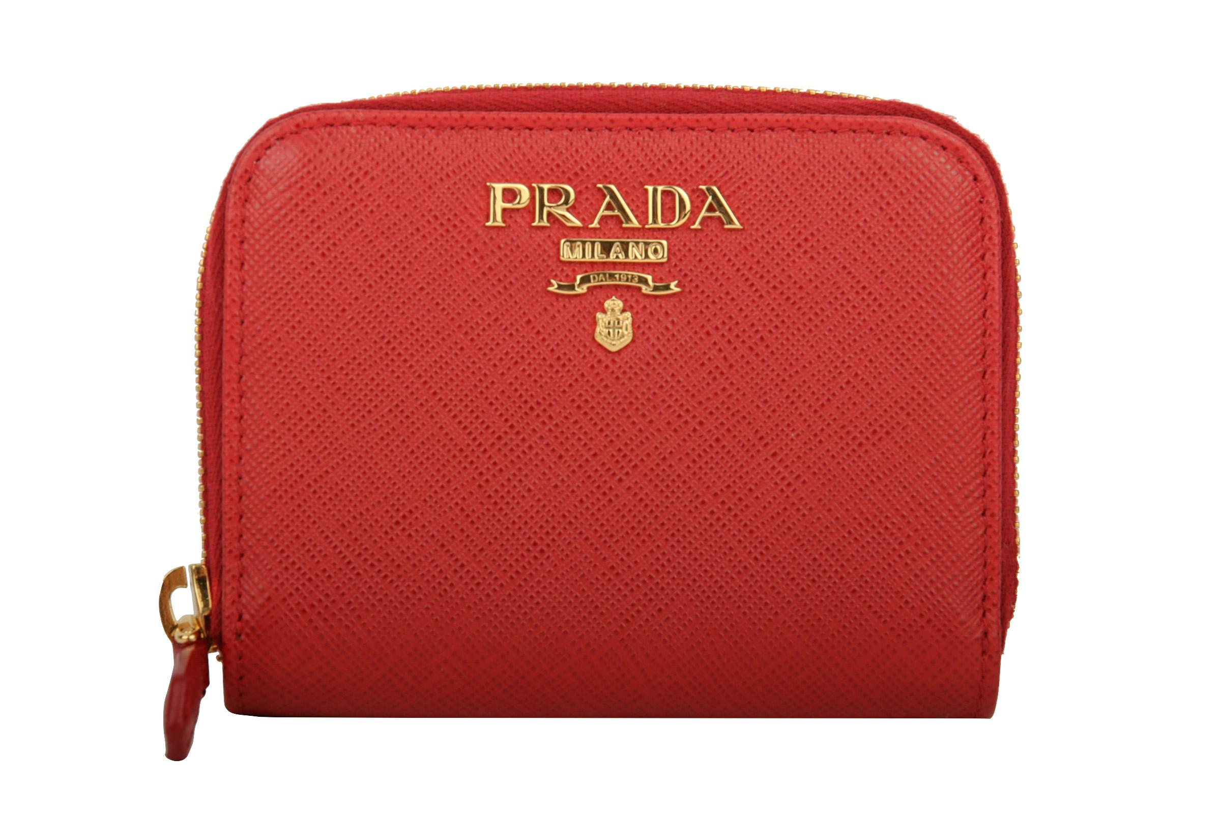 327f021e83e7f Prada Mini Portemonnaie Saffiano Leder Rot