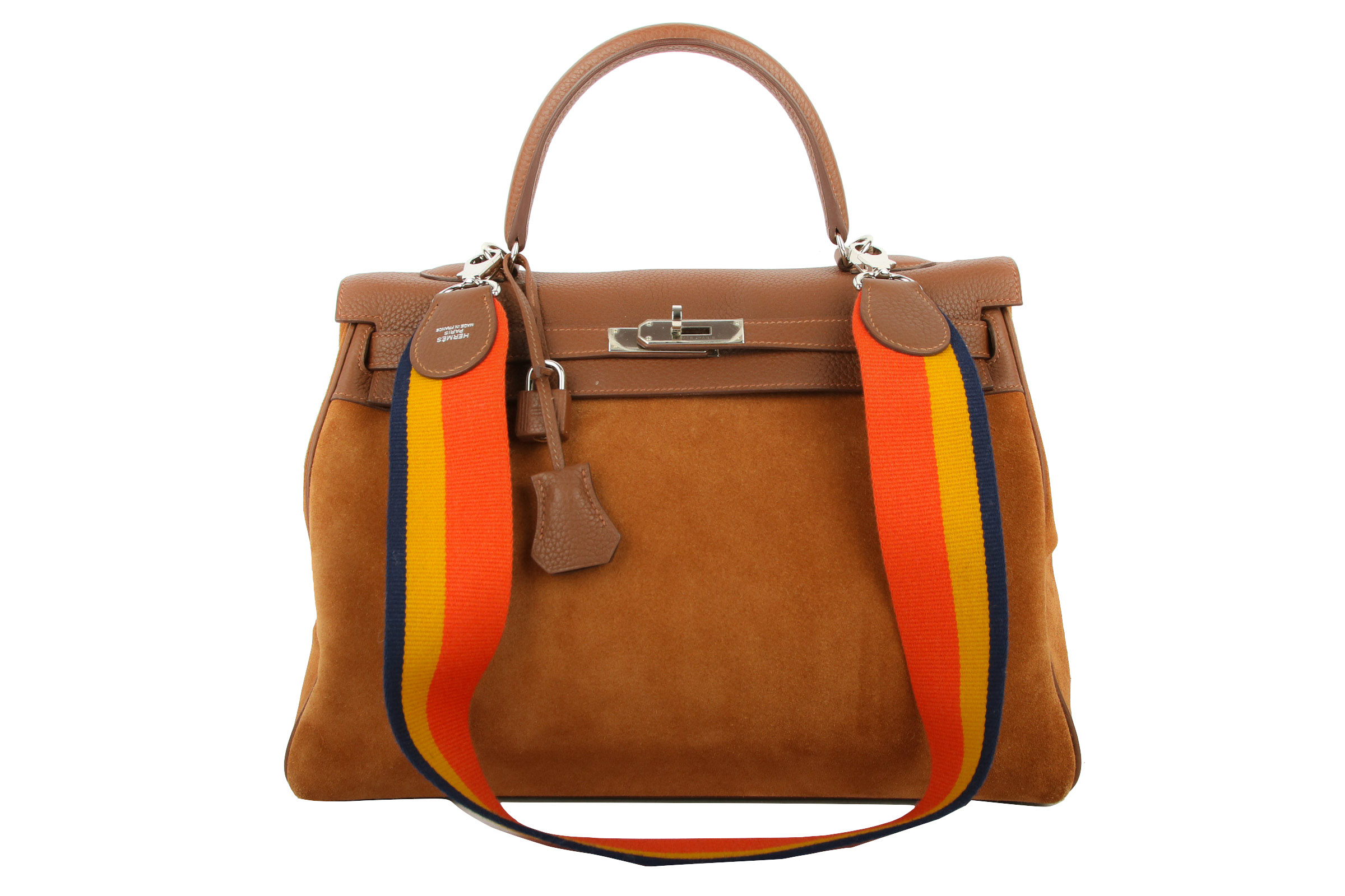 96b9e80505dcc Hermès Kelly Bag 35 Fauve Grizzly Amazone Rainbow Strap