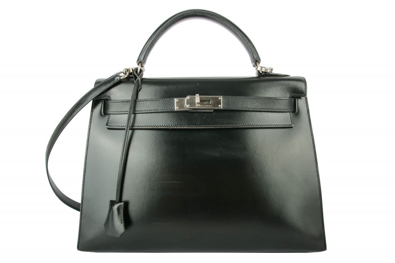 Hermès Kelly 32 Box Leather Black