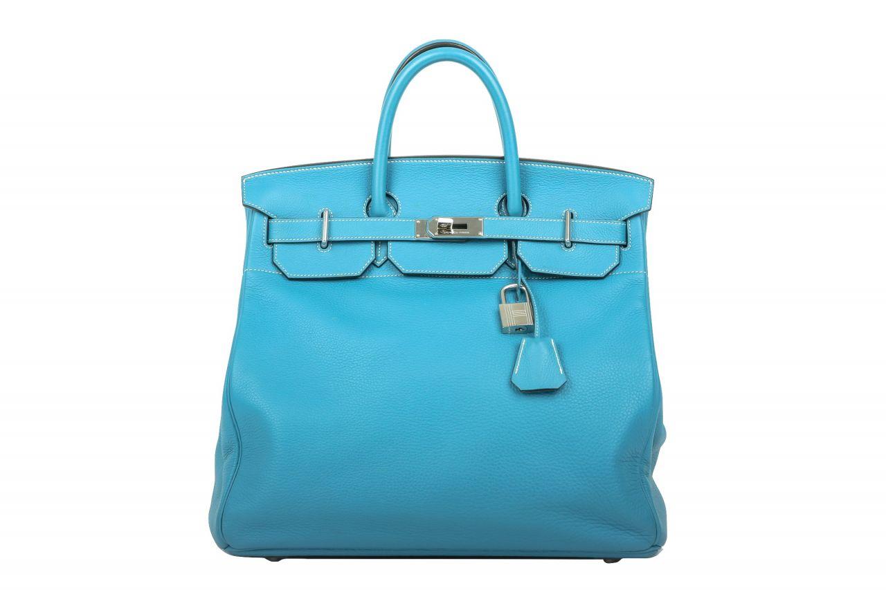 Hermès Birkin HAC 40 Blue Jean Clemence Leder