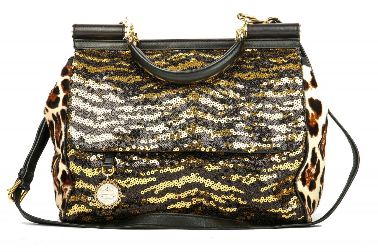 Dolce & Gabbana Miss Sicily Tiger Sequin Satchel Bag