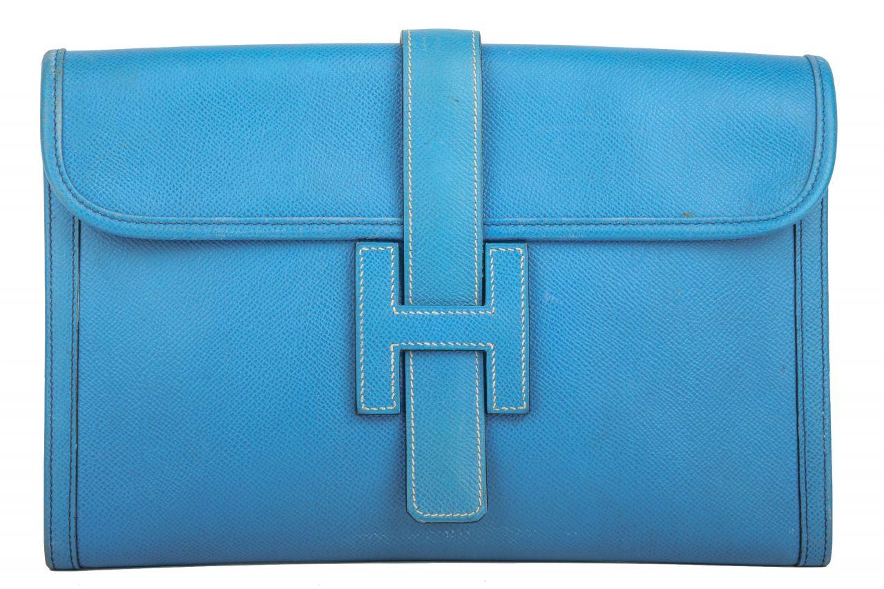 Hermès Jige Clutch GM blau