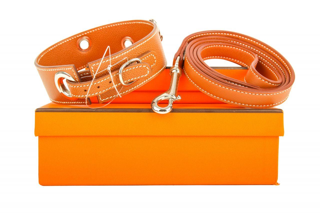 Hermès Hundehalsband mit Leine Braun