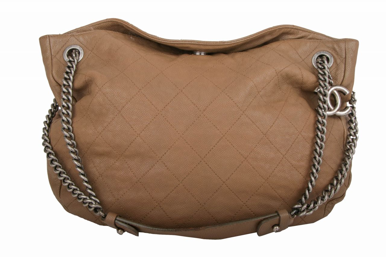 Chanel Shoulder Bag Nubuk Taupe