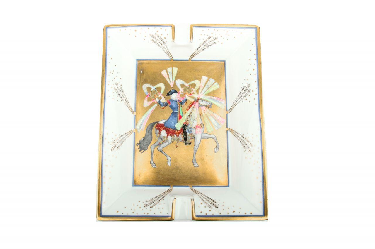 Hermès Porzellan Aschenbecher Weiß/Gold/Blau