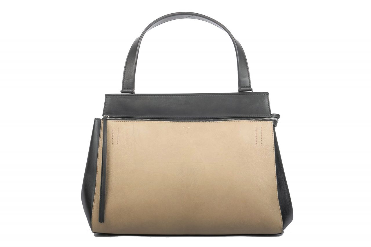 Céline Edge Leder Shopper Black Taupe