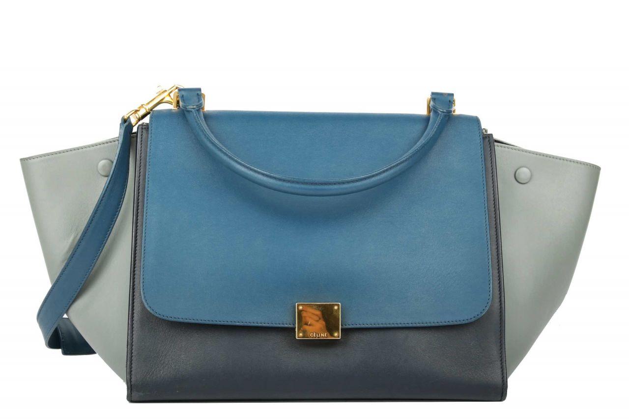 Petrol Bag Large Céline Trapeze Blue jR45A3L
