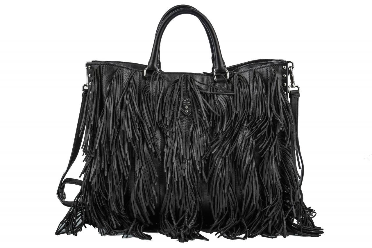 Prada Bag mit Fransen Schwarz