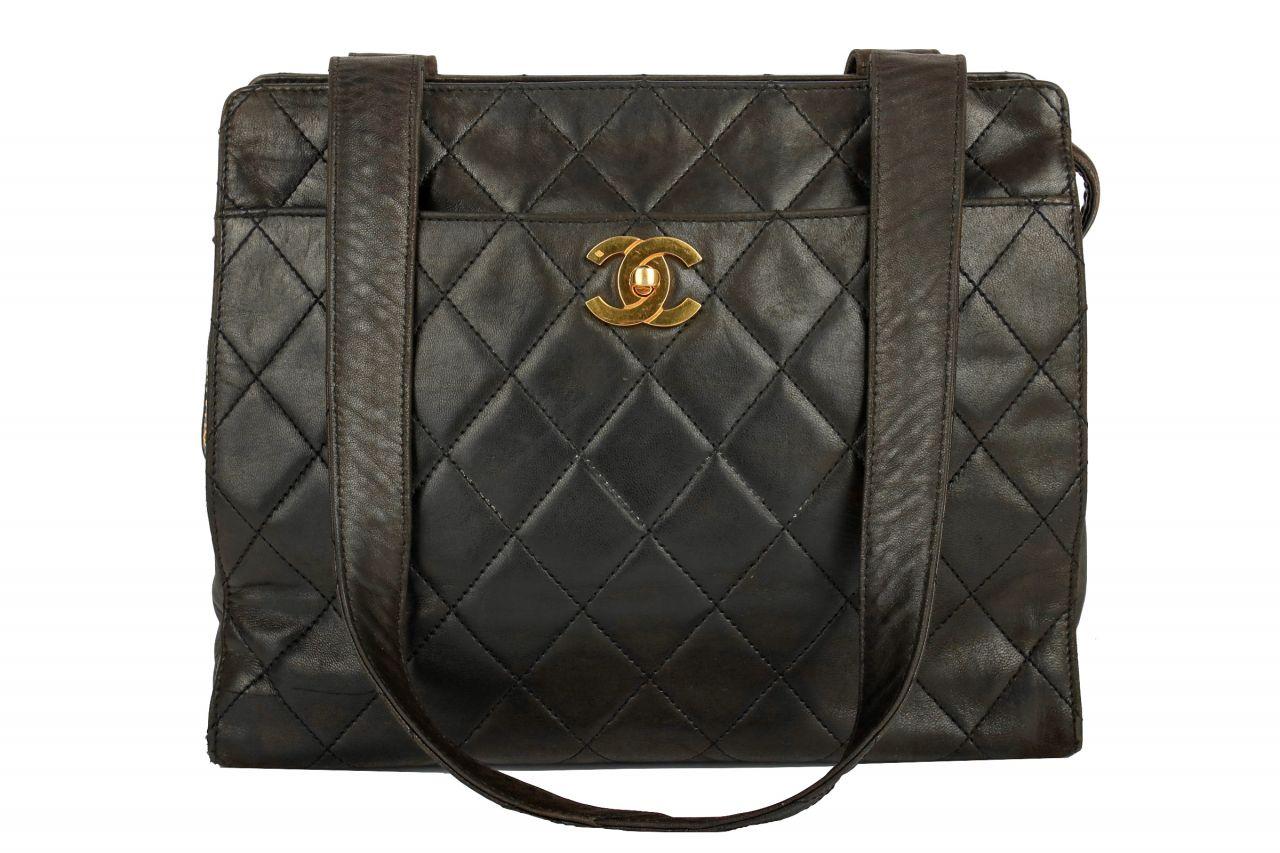 Chanel Vintage Schultertasche Schwarz