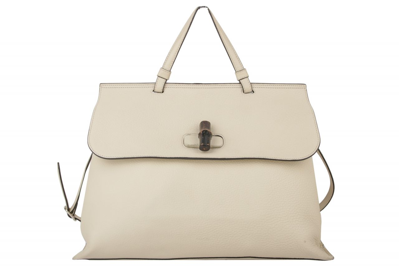 Gucci Bamboo Daily Large Top-Handle Leder Tasche Creme