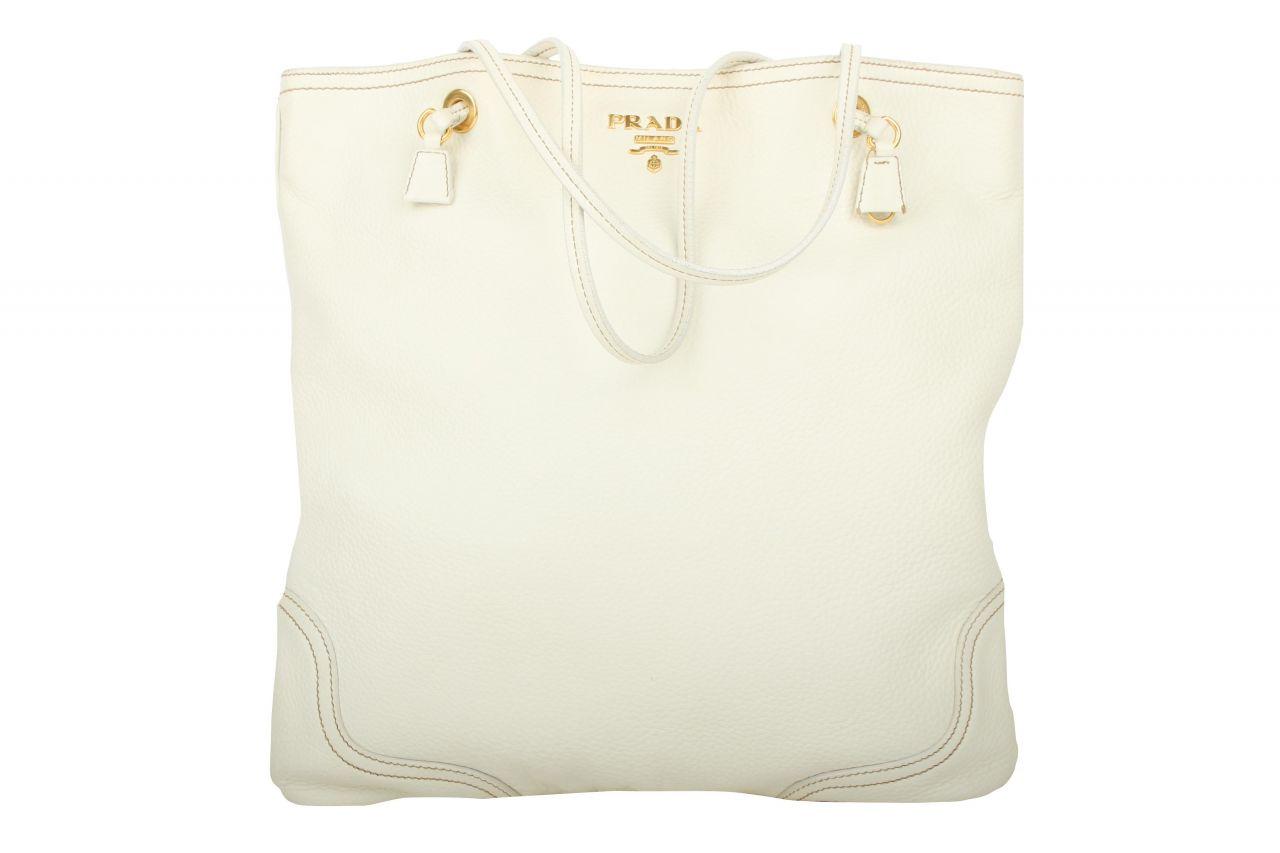 Prada Leather Tote Bag White