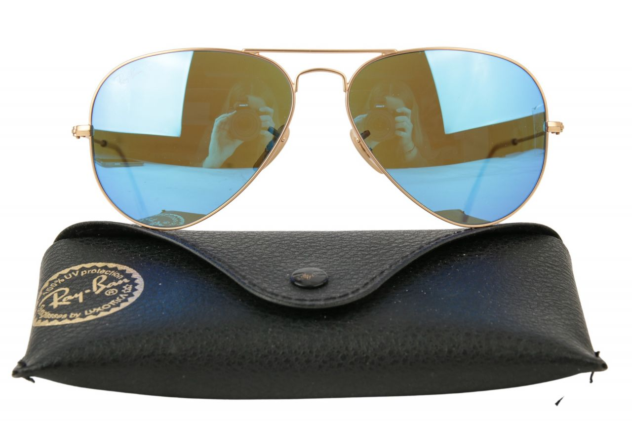 Ray-Ban Aviator Sonnenbrille RB3025 Blau Metallic