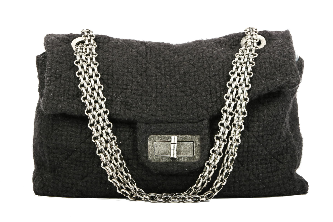 Chanel 2.55 Plain Wool Travel Bag Schwarz