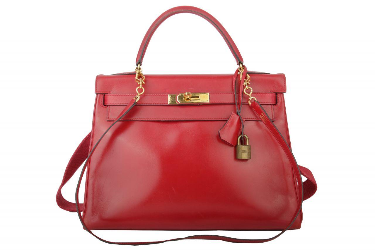 Hermès Kelly 32 Box Leder Rot