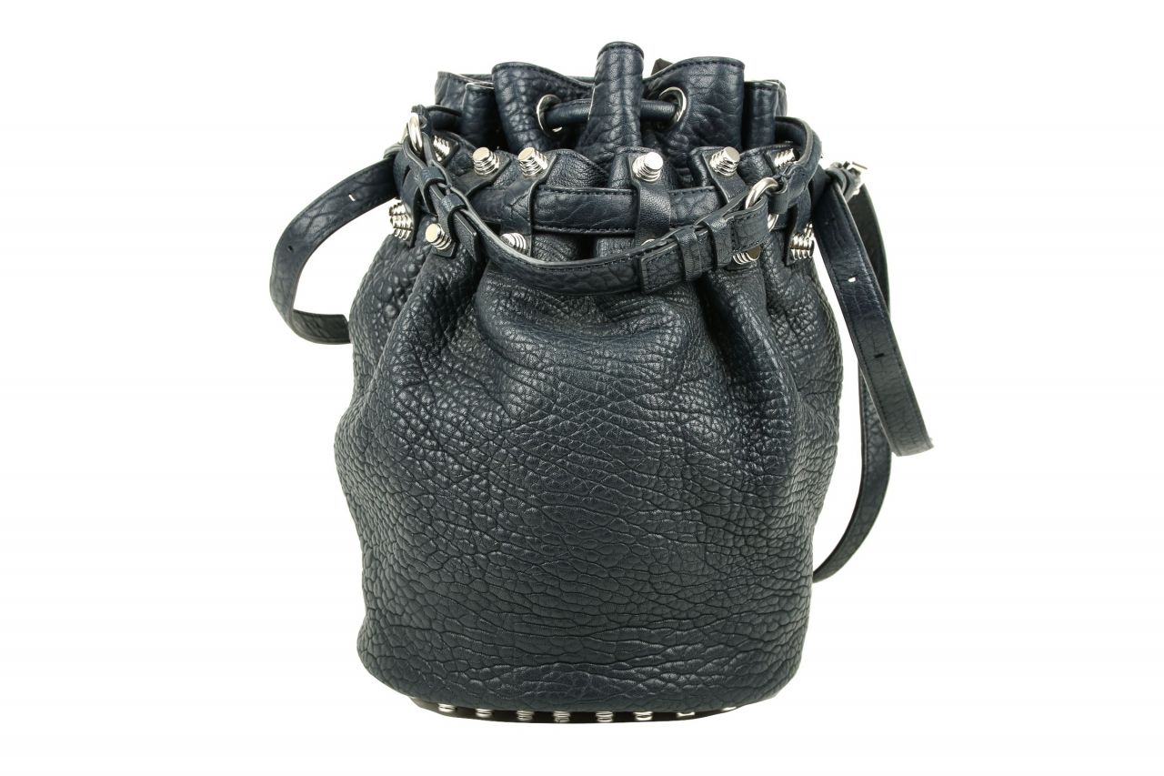 Alexander Wang Diego Leder Bucket Bag Dunkelblau