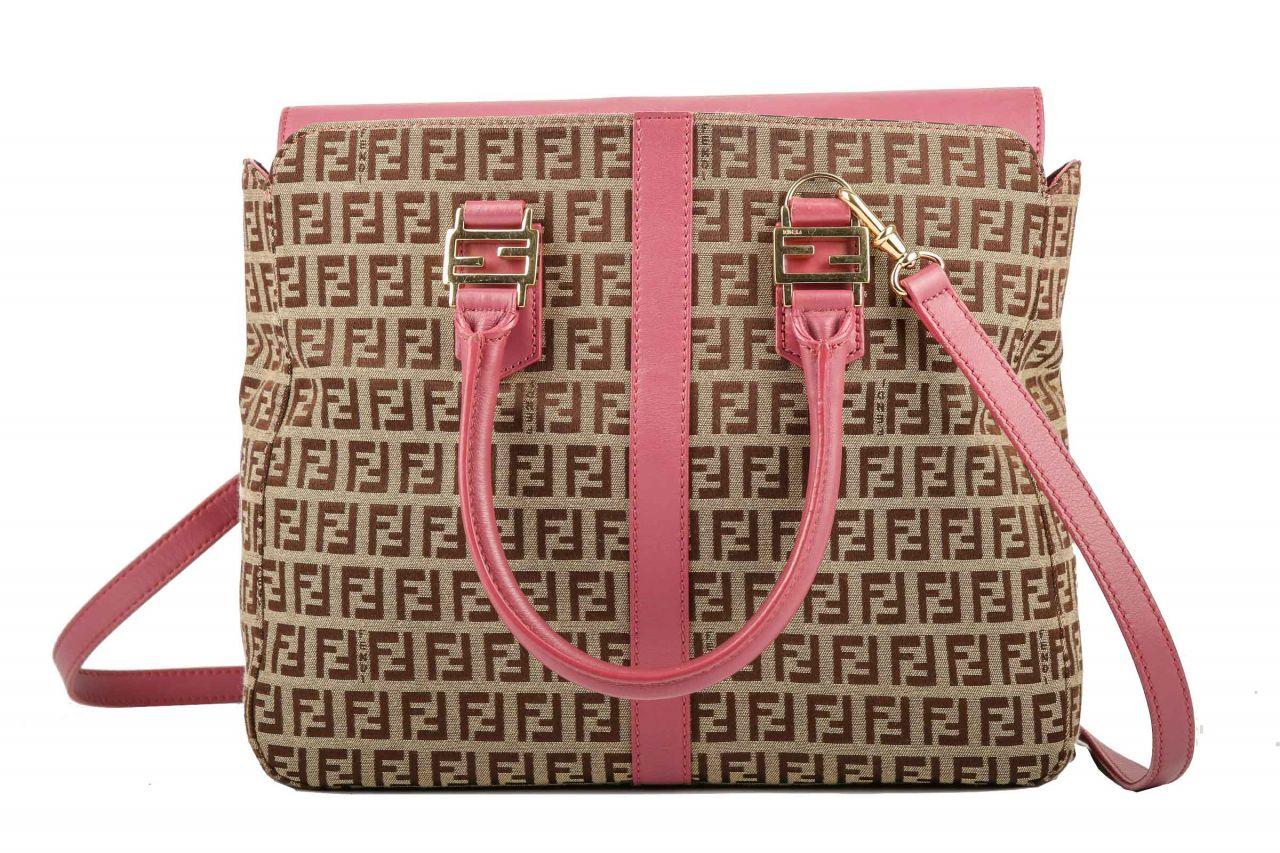 Fendi Logo Handtasche Braun/Pink