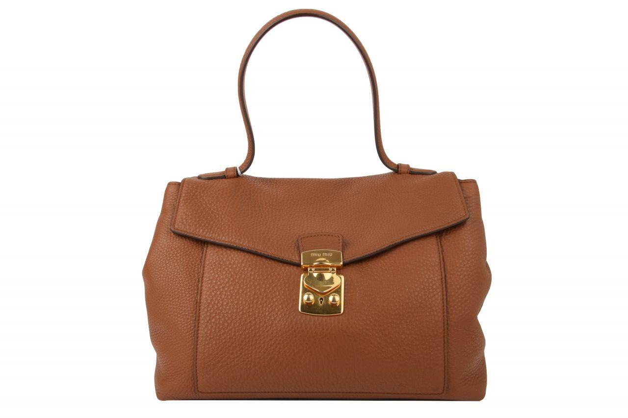 Miu Miu Top Handle Bag Cognac