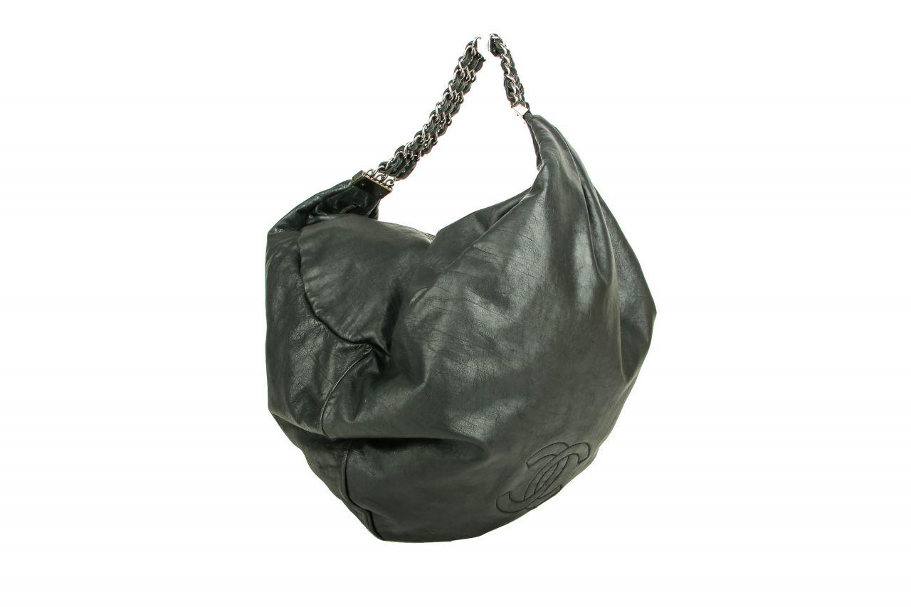 Chanel Hobo Logo Chain Bag Black