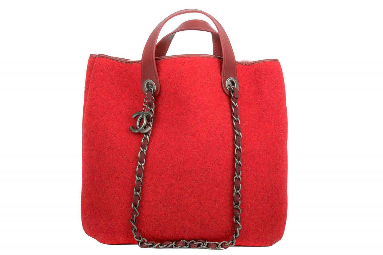 Chanel Quilted Filz Tasche Rot