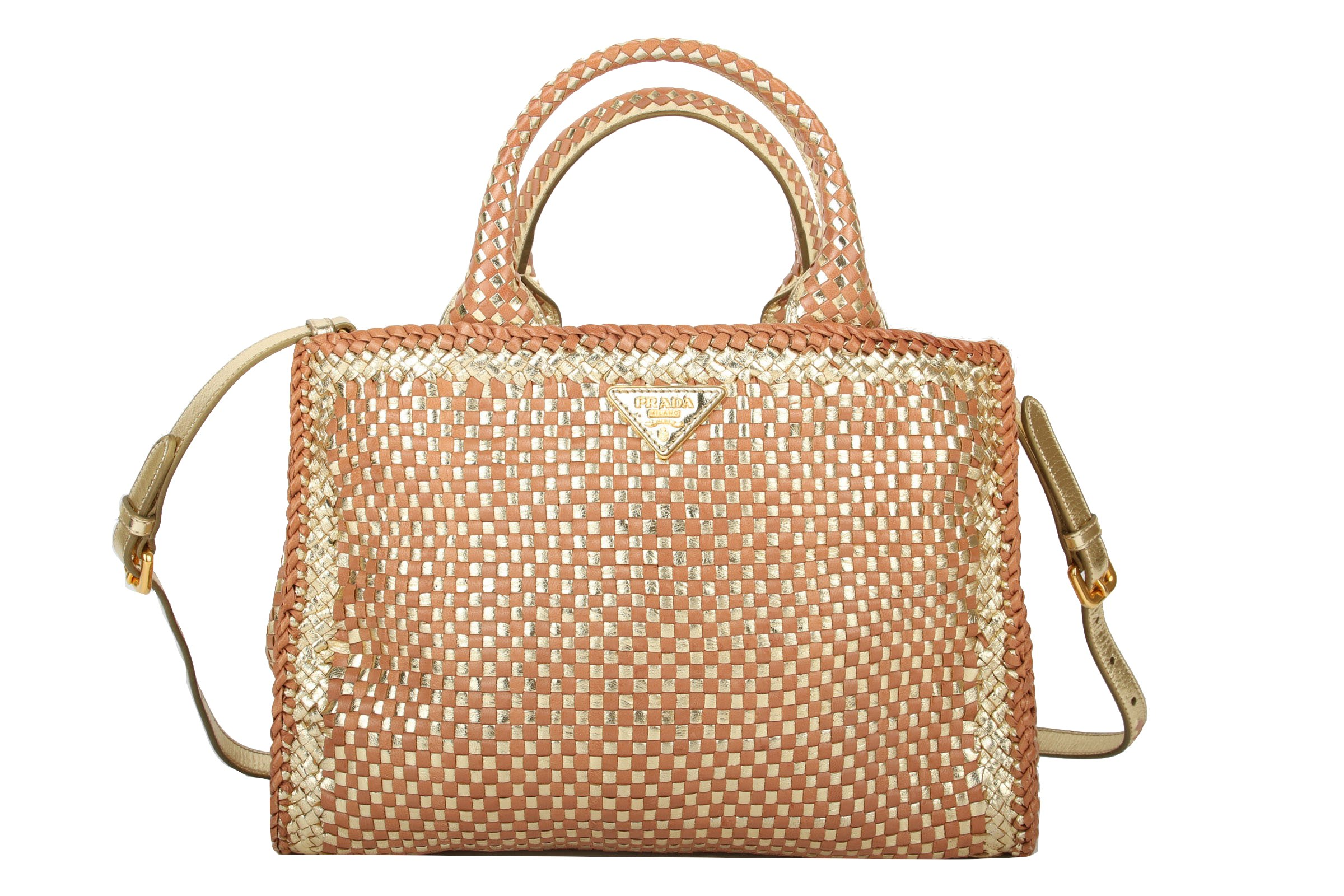 57f67215b0946 Prada Madras Bag Gold