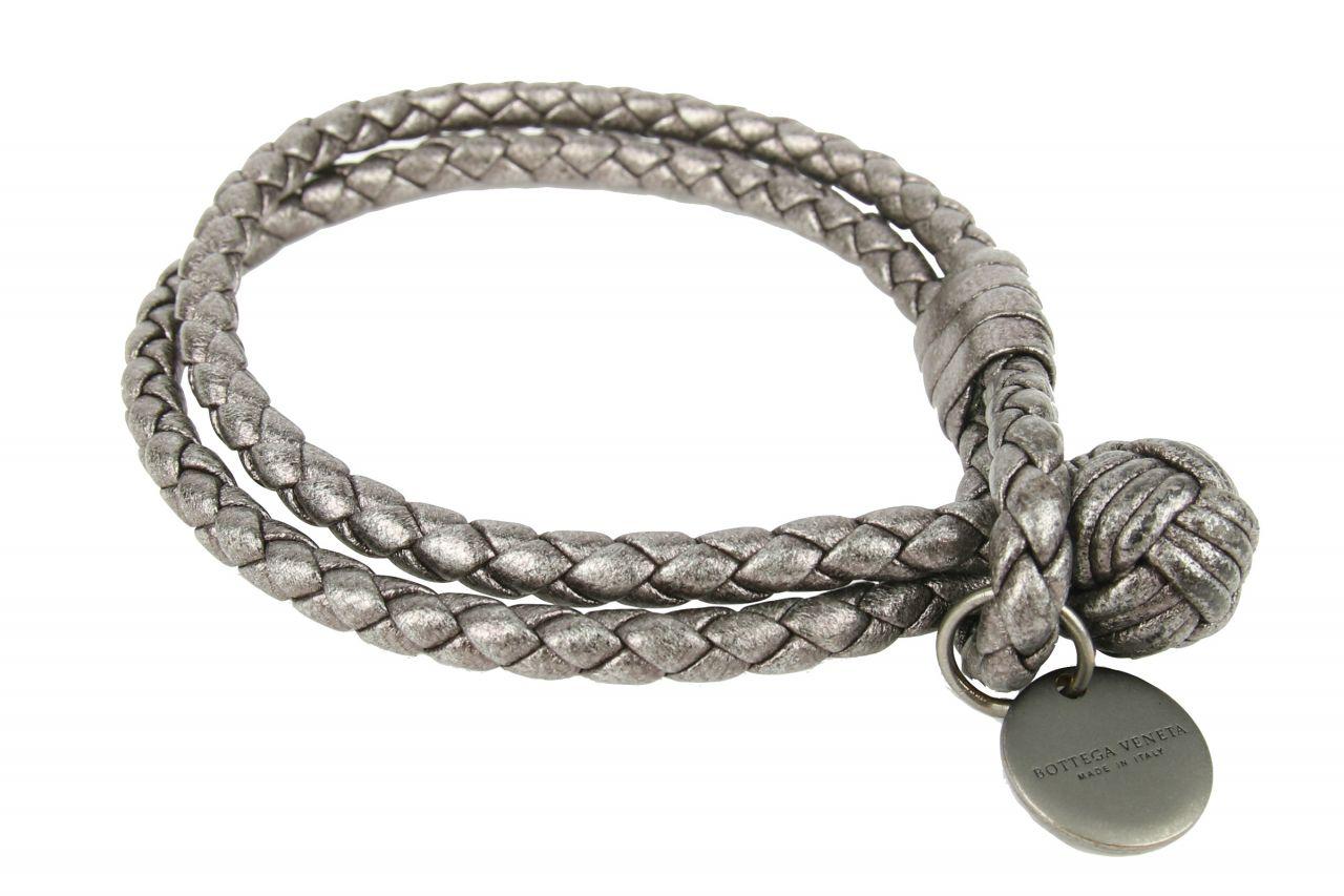 Bottega Veneta Leder Armband Grau