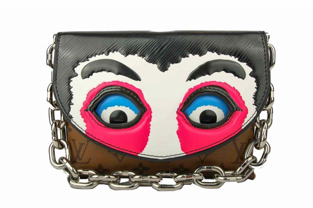 Louis Vuitton Monogram Canvas/Red Epi Kabuki Masks Pochette Bag