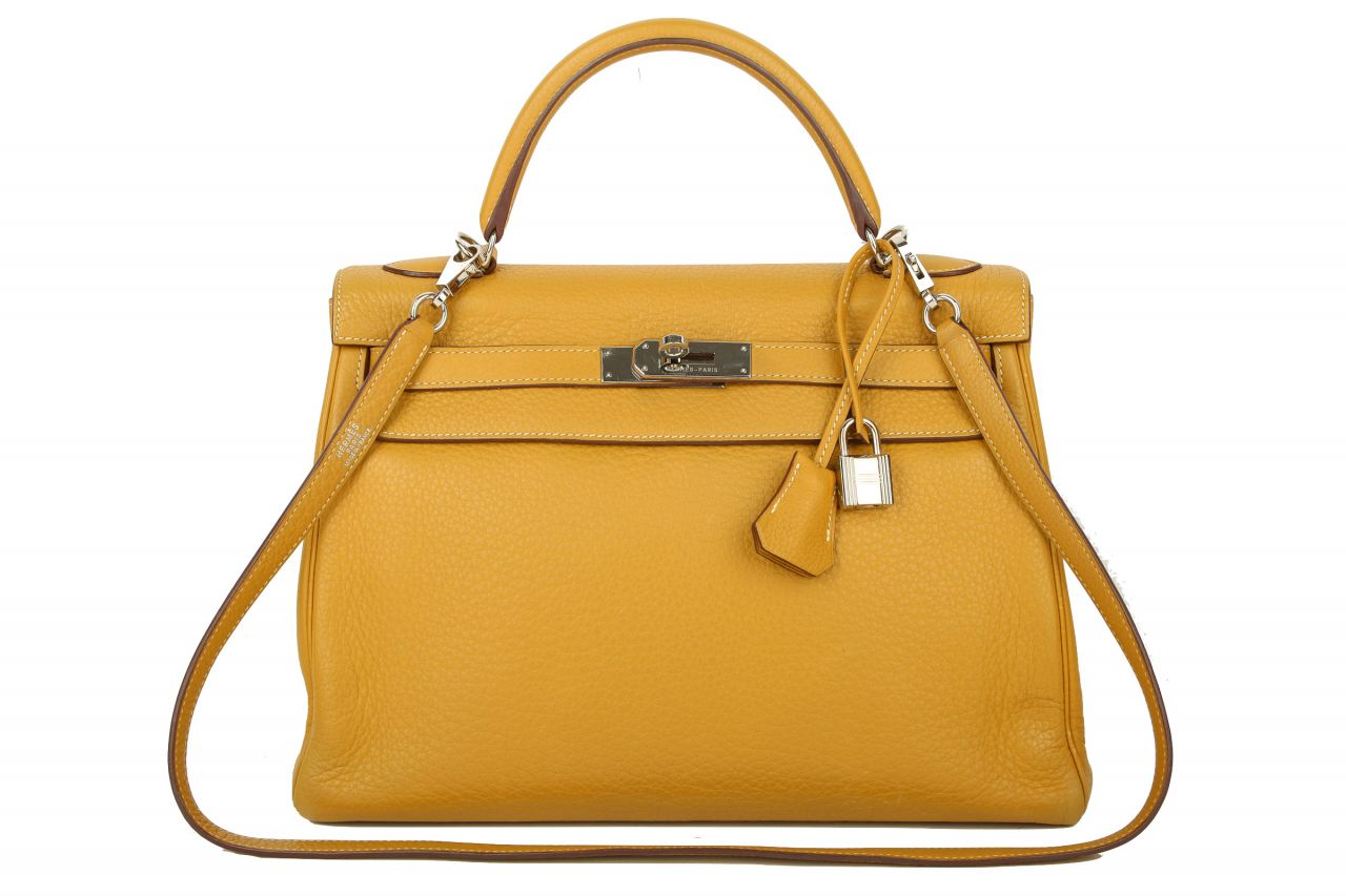 Hermès Kelly Bag 32 Retourne Clemence Curry