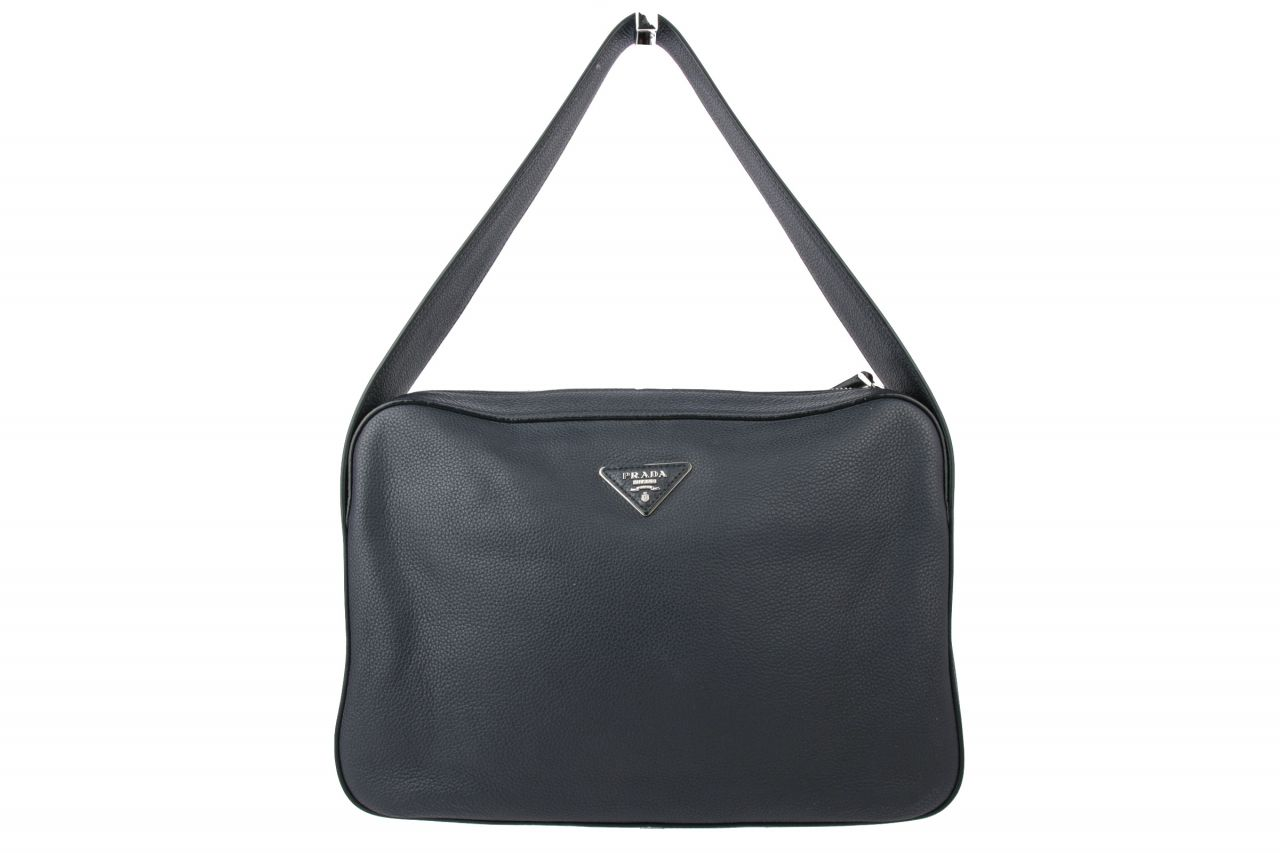 Prada Vitello Daino Shoulder Bag in Baltico Blue