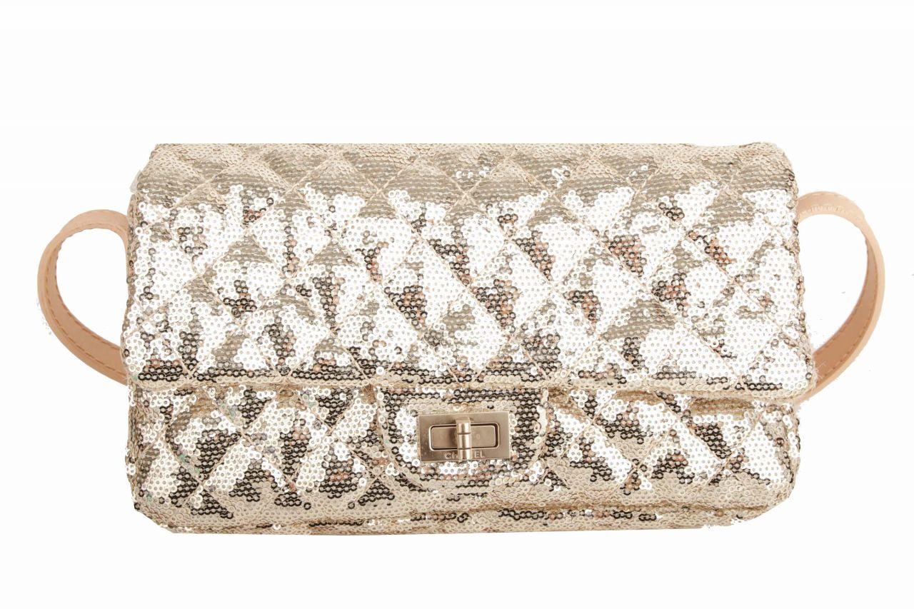 Chanel 2.55 Spangle Crossbody Bag Gold